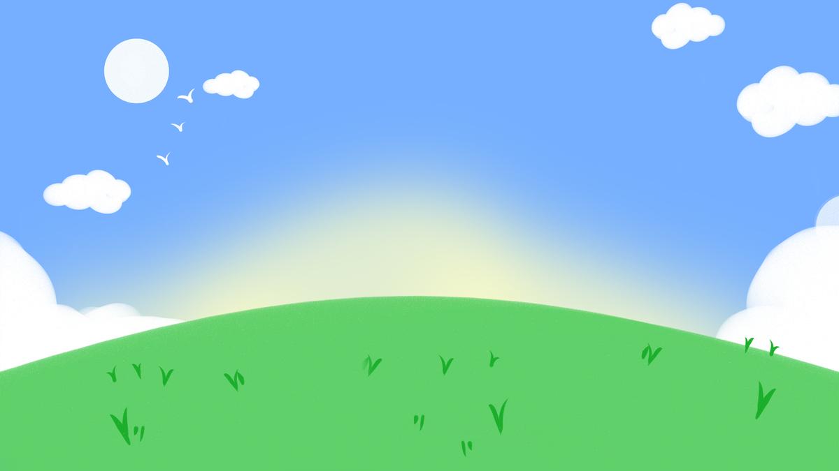 手绘卡通蓝天白云草地海报背景小清新