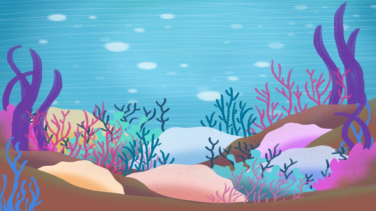 手绘海底世界海报背景