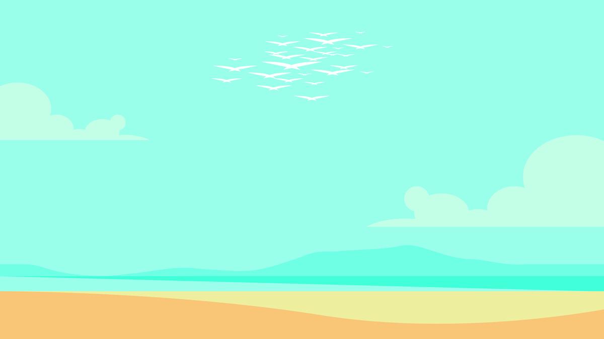 蓝天大海白云手绘素材 蓝天白云手绘图 蓝天白云手