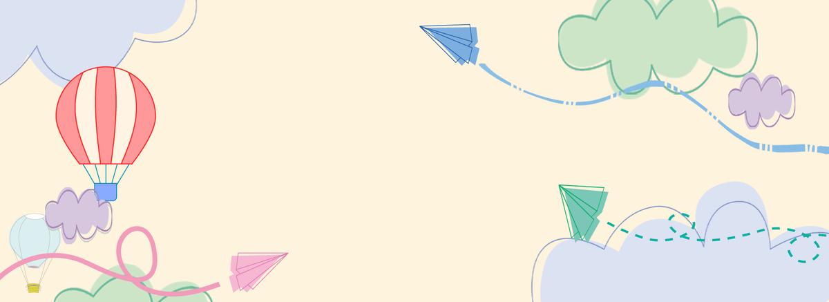 简笔画小飞机热气球banner背景