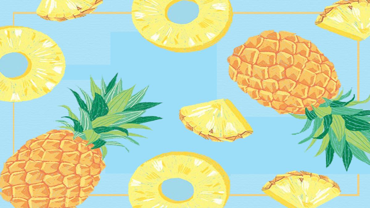 卡通清新菠萝手绘背景海报