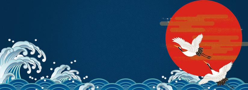 国际中国风仙鹤淘宝天猫海报质感背景PSD