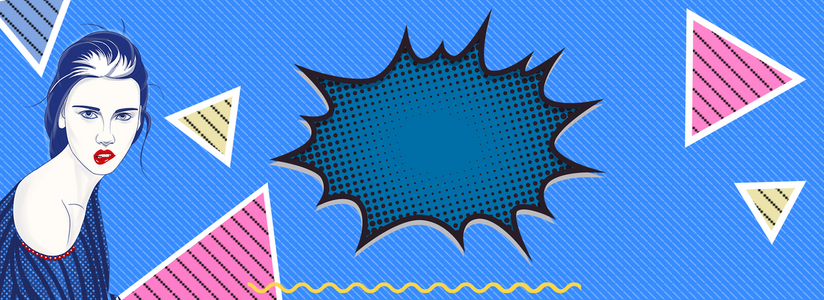 双十一波普风三角形banner海报