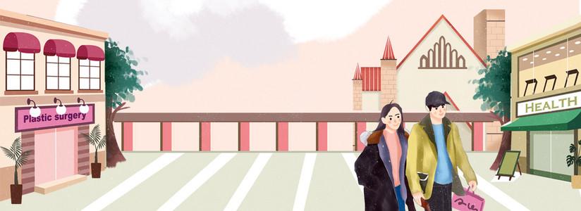 双十一情侣嗨购商业街插画风背景