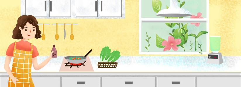 双十一家庭主妇厨具嗨购插画风背景