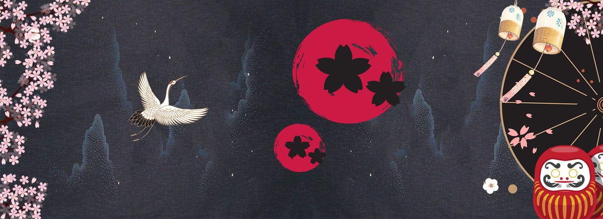日本特色产品深色仙鹤和风背景