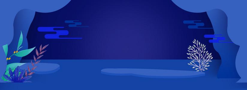 双十一小清新微立体剪纸风蓝色背景