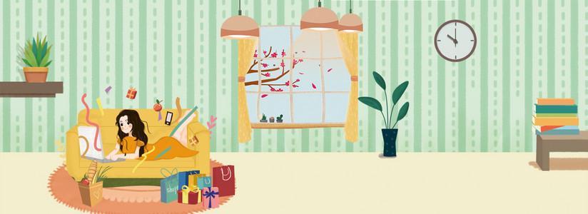 双十一购物女孩抢购悠闲室内插画背景