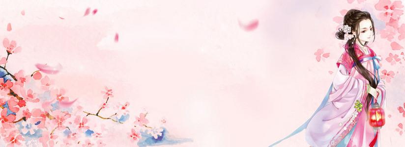 唯美粉色梅花古风人物背景