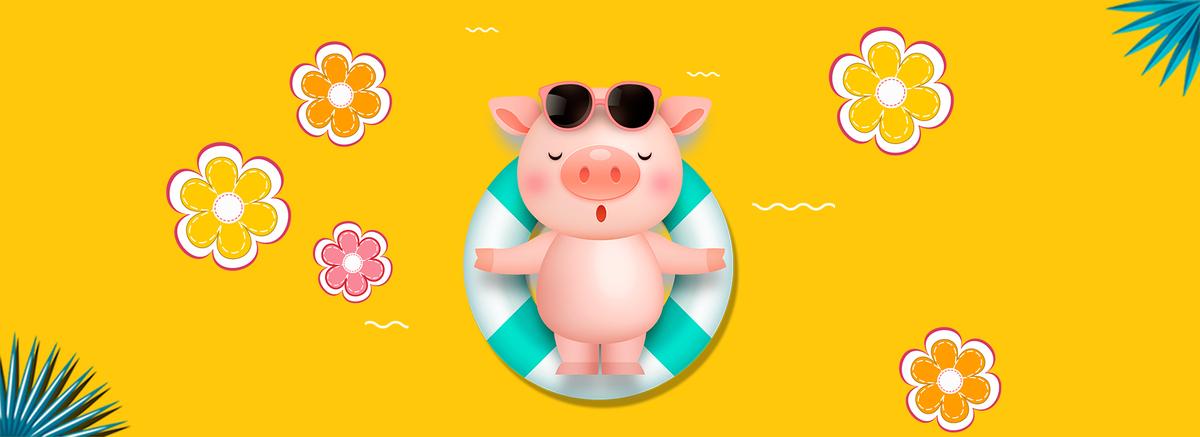 2019猪年可爱卡通风游泳猪海报图片