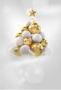 唯美圣诞气球圣诞树背景素材