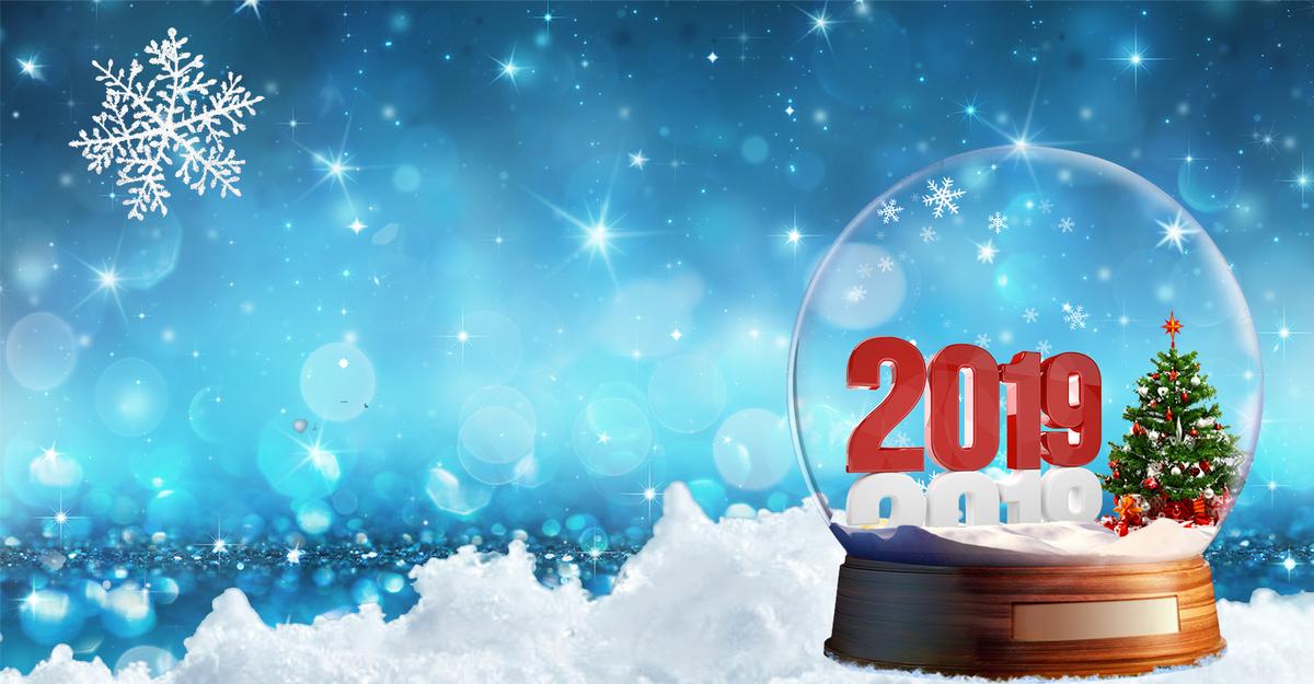 2018跨年创意合成清新雪景水晶球海报图片