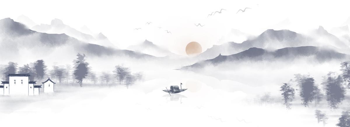 中国风手绘水墨风景山水徽派建筑