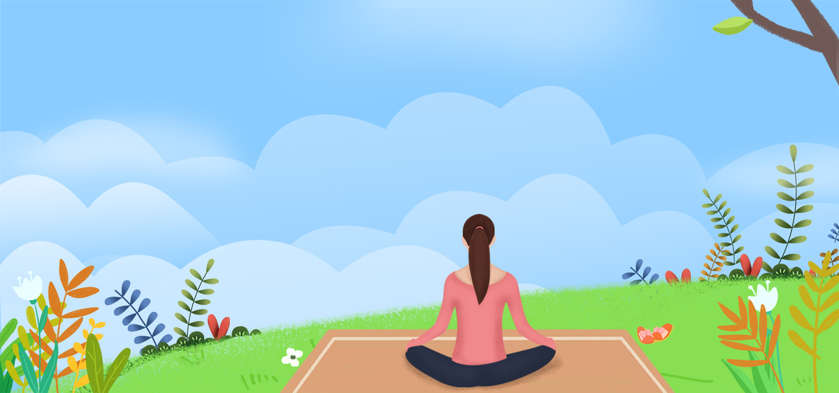 美容养生小清新手绘卡通插画瑜伽海报