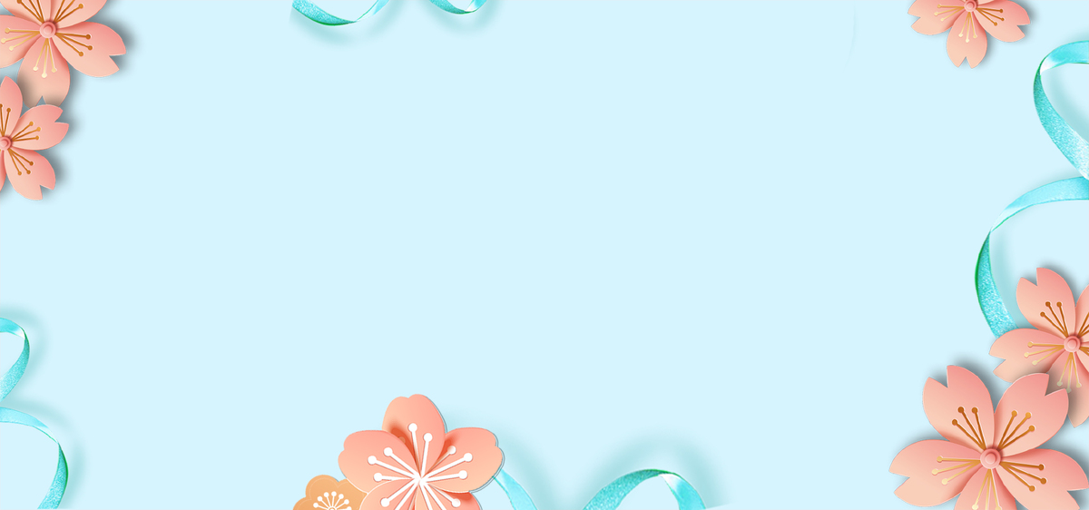 女生节蓝色简约花朵手绘背景
