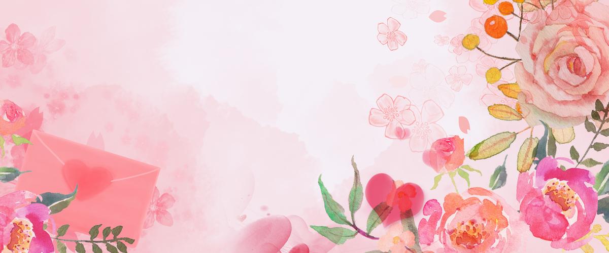 浪漫唯美鲜花粉色小清新女生节背景图片免费下