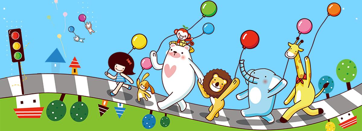 中小学安全教育卡通动物海报背景图片