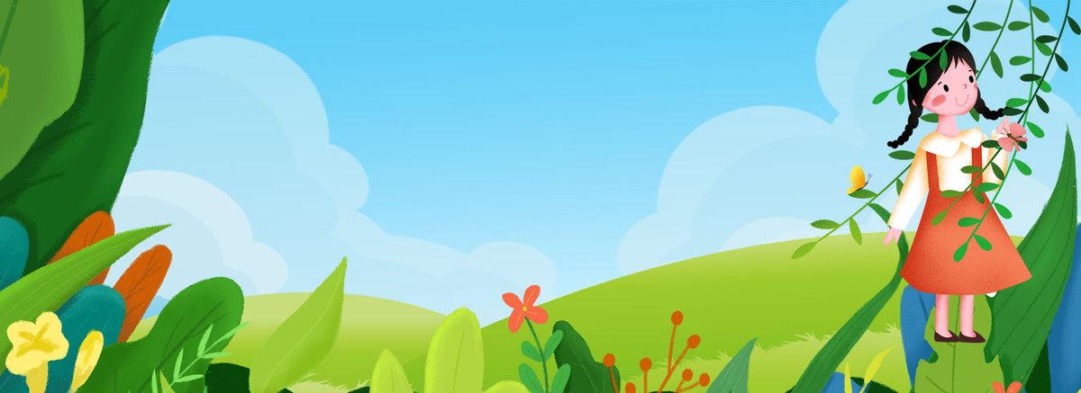 创意卡通自然风景春季背景合成