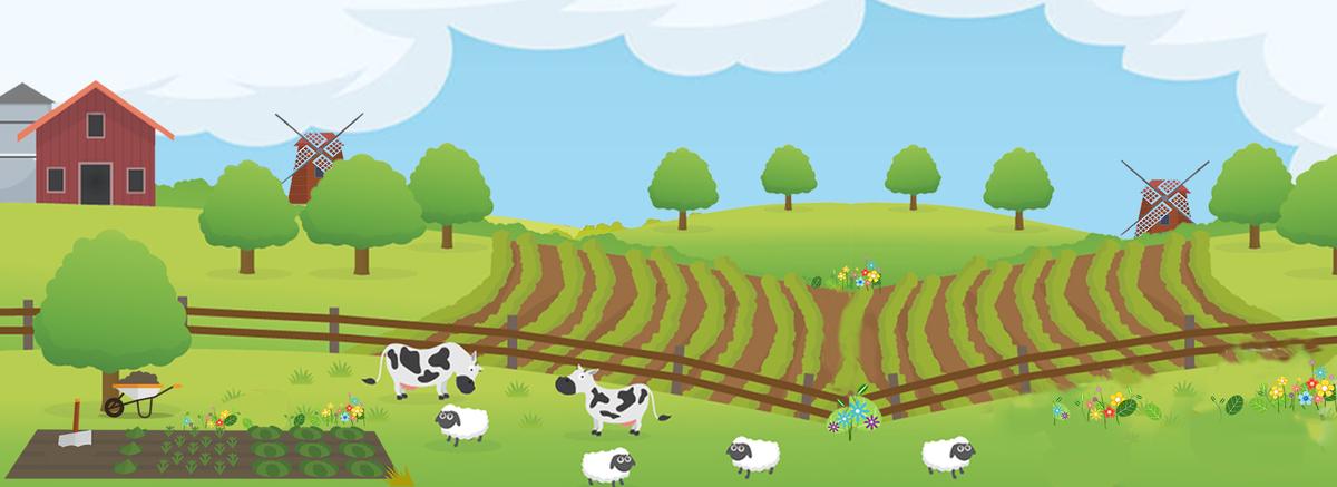 乡村田园风光自然风景卡通背景