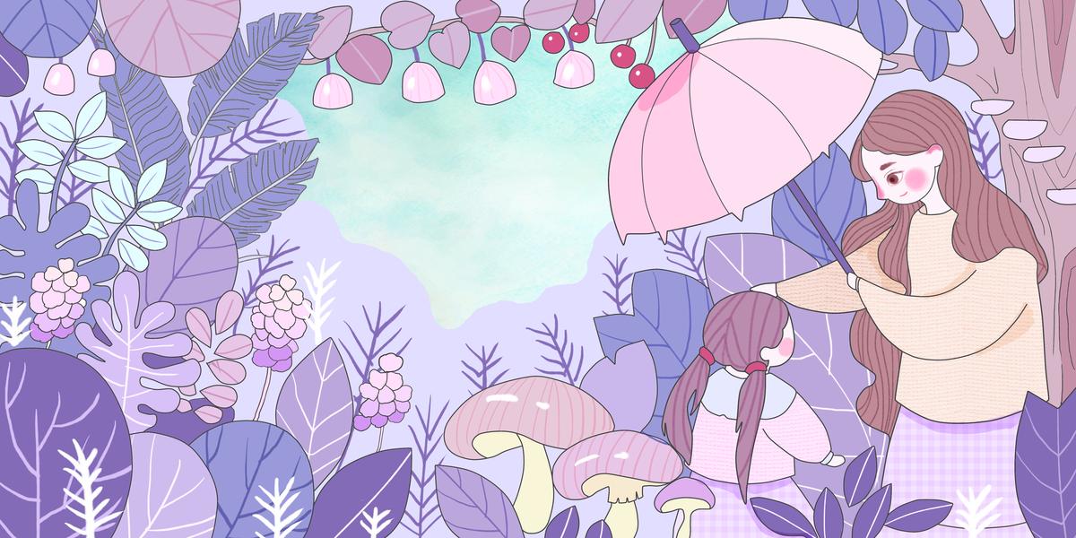 卡通手绘感恩母亲节花草边框海报背景