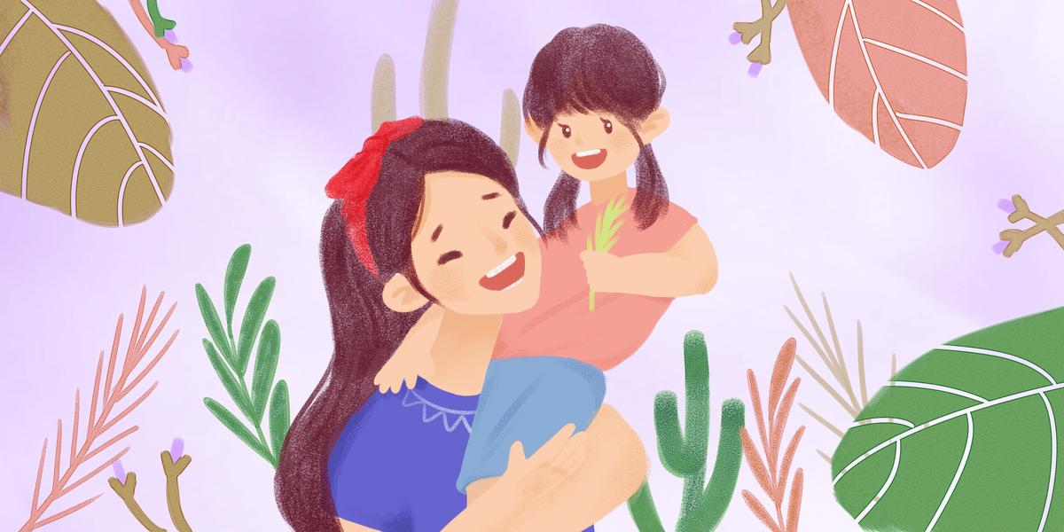 手绘卡通512母亲节海报背景