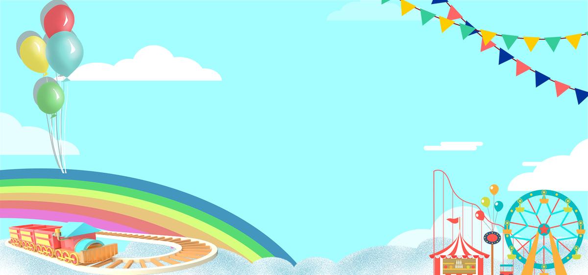 儿童节蓝色蓝天白云卡通背景