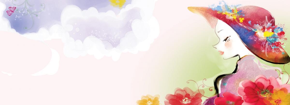 粉色卡通手绘春季海报banner