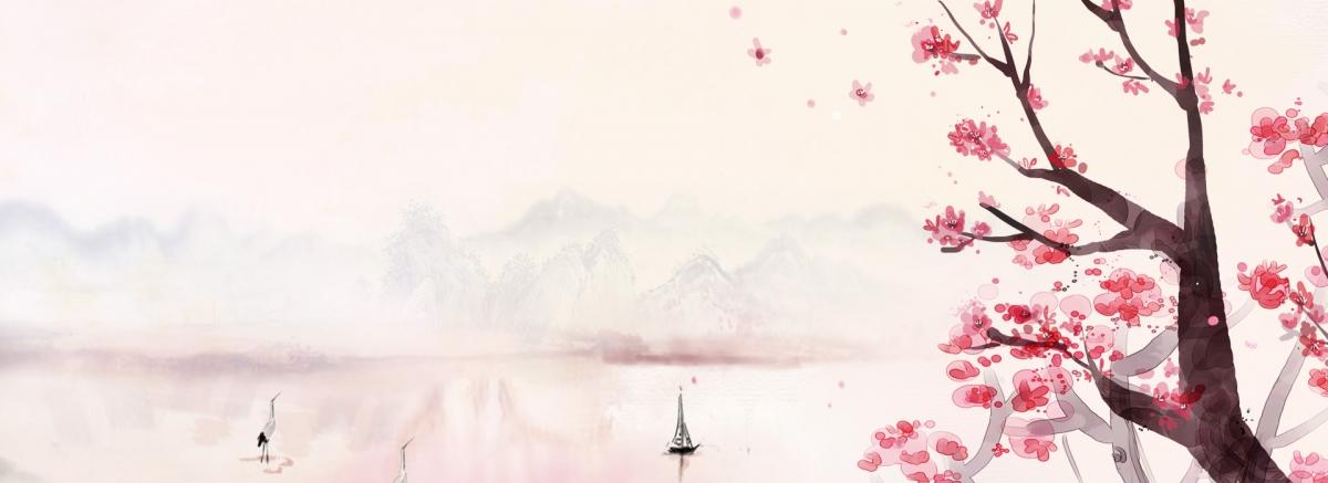 90设计提供粉色手绘水彩桃花春季海报banner设计素材下载,高清psd格式
