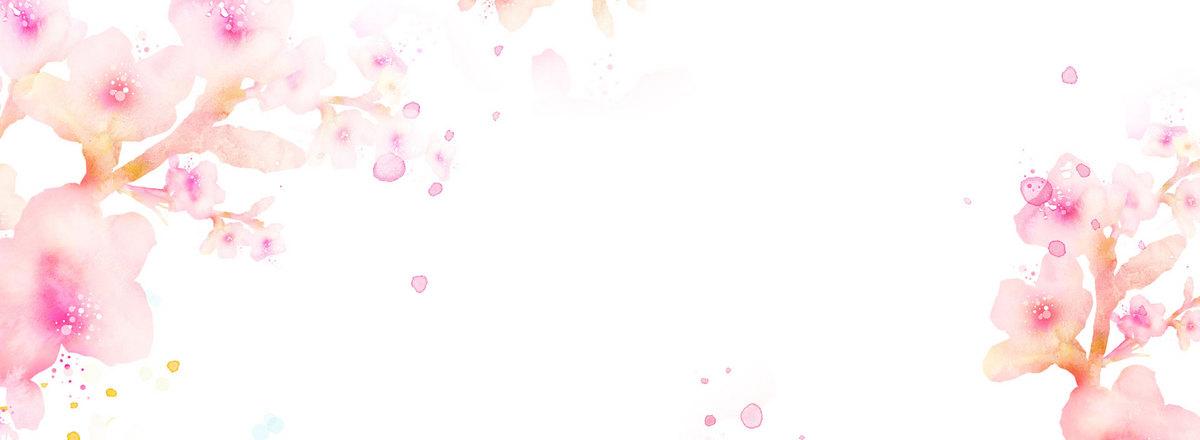水彩手绘桃花背景海报