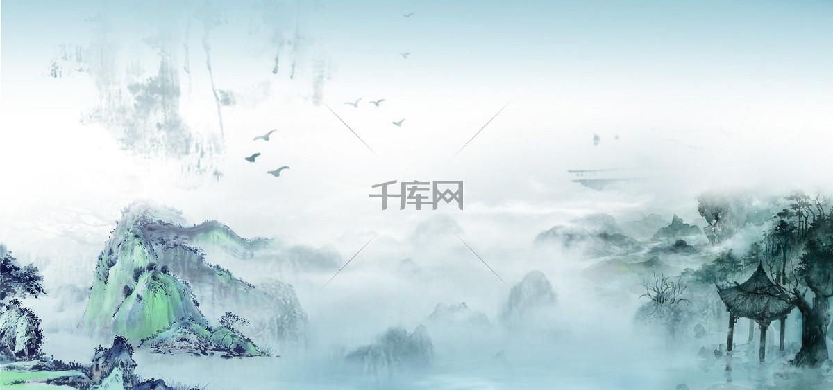 水墨画广告风景设计背景图片免费下载_海报banner/高清大图_千库网