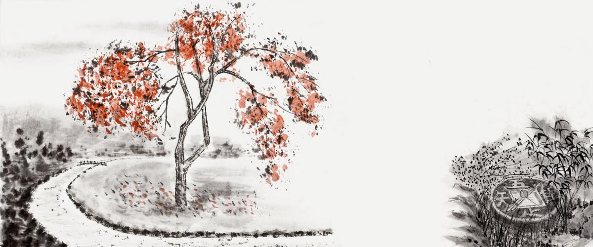 中国风花朵简笔画黑白背景