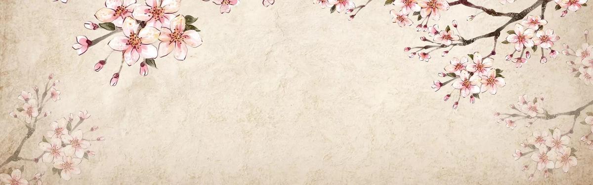 手绘桃花水彩背景