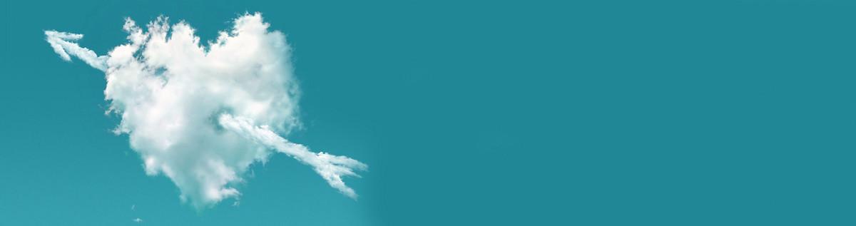 爱心云朵背景banner