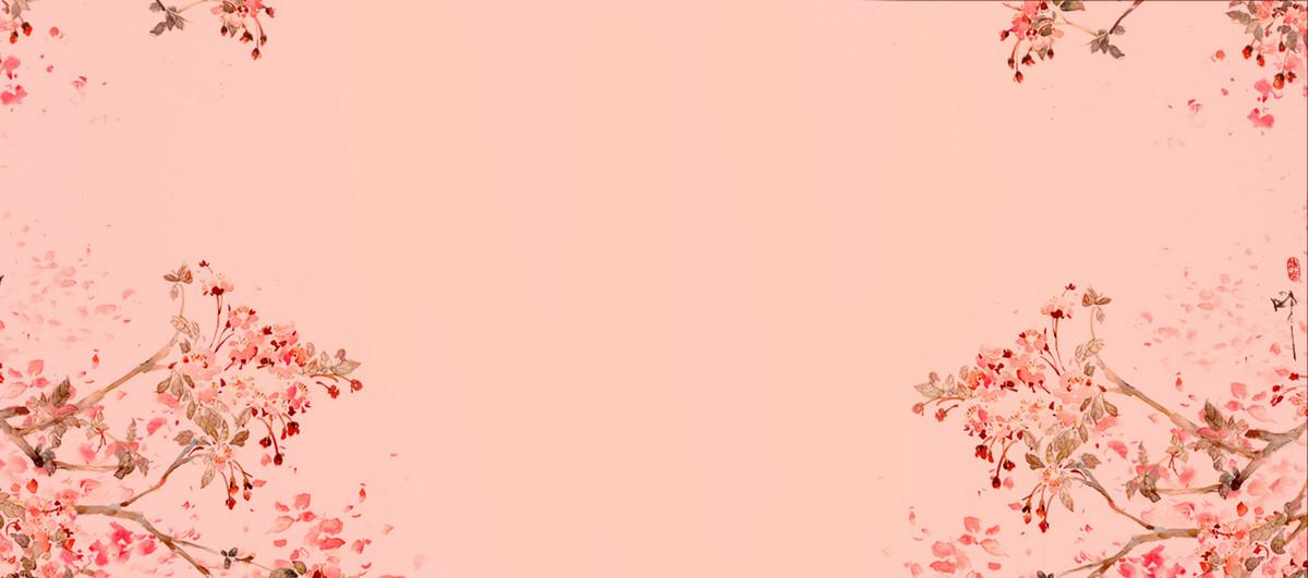 手绘粉色花卉banner