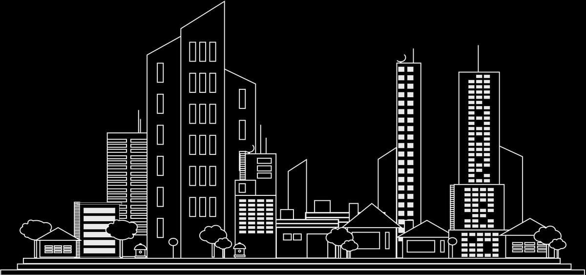 黑色背景手绘城市建筑banner