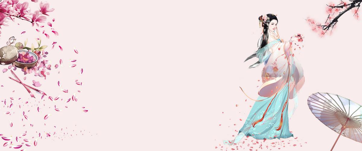 古风 中国风 桃花 粉色背景 花瓣 伞 手绘美女 桃花背景 手机端:古风