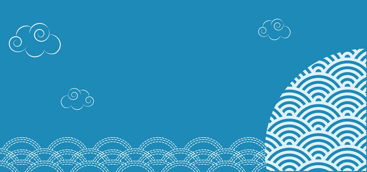 手绘卡通蓝色寿司三文鱼背景