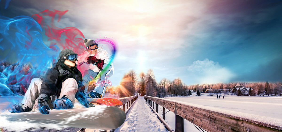 清新戶外運動冬季滑雪海報