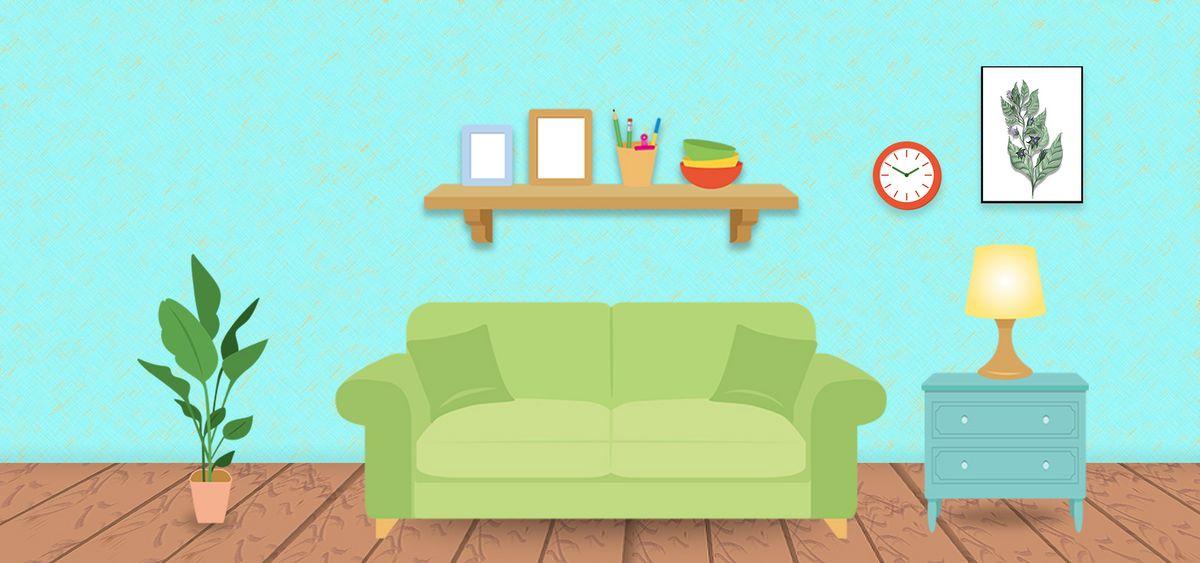 卡通家居客厅背景素材图图片