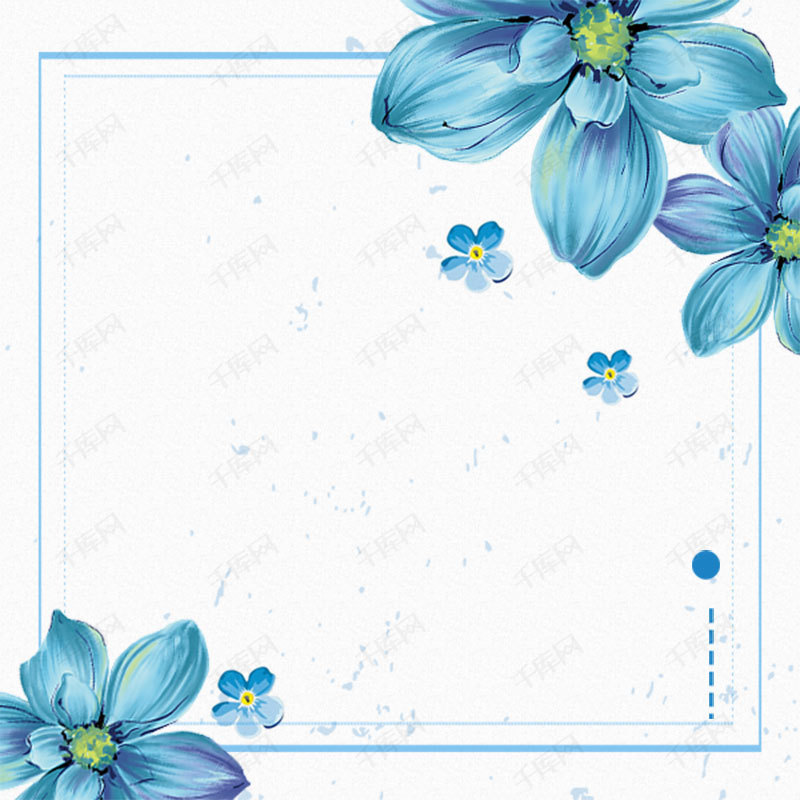 手绘小清新简约花朵淘宝主图背景