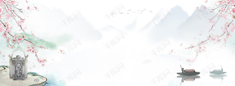 简约大气文艺古风banner宣传背景图片免费下