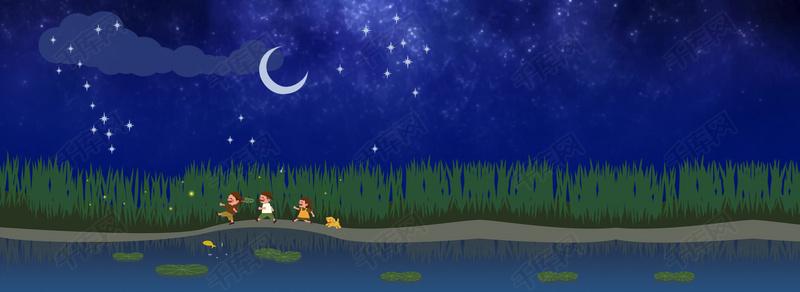 夜晚星空图片动态_星空下流泪的动漫女孩  矢量卡通乡间星空夜晚风景