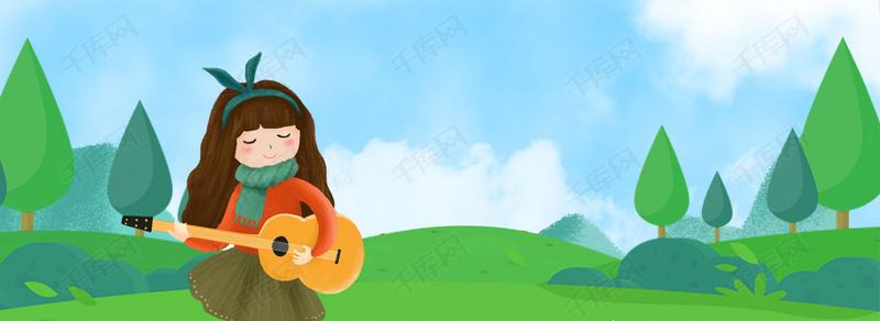 清新手绘春天户外弹吉他的女孩背景