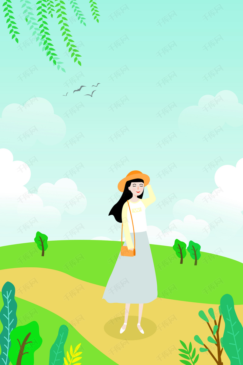 卡通手绘女孩五一假期旅游海报背景图片免费下载_广告