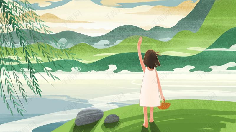 手绘卡通小女孩手提篮子站在河边背景