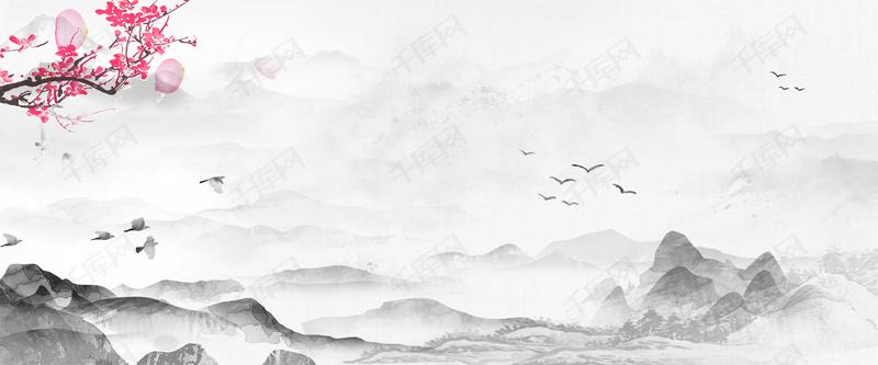 山水古建筑白鹤梅花中国风海报背景图片免费下载_海报