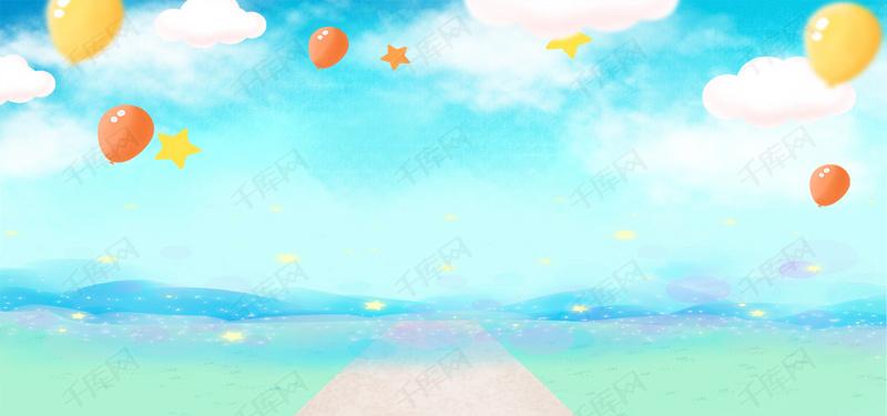 儿童节蓝色蓝天白云卡通背景图片免费下载_海报banner