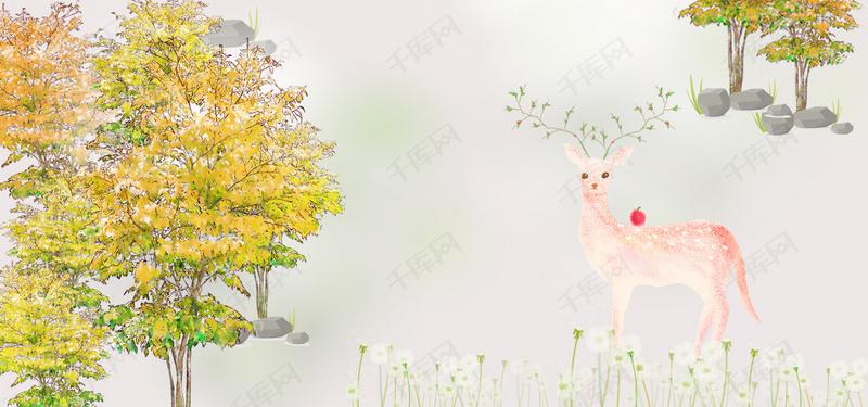 麋鹿森林欧式背景墙北欧装饰画现代简约装饰