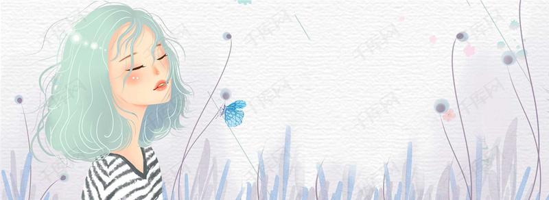 夏季女孩小清新手绘文艺灰色背景图片免费下载_海报