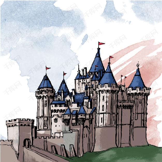 卡通水彩手绘英国建筑旅游背景素材